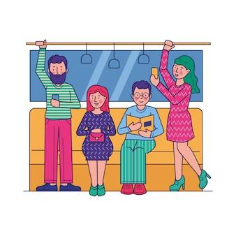 Pasajeros que viajan en metro ilustración plana