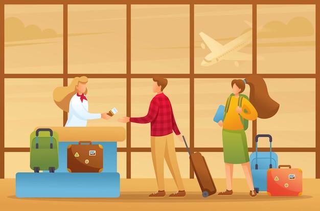Los pasajeros se registran para un vuelo, vacaciones, vuelo a otro país