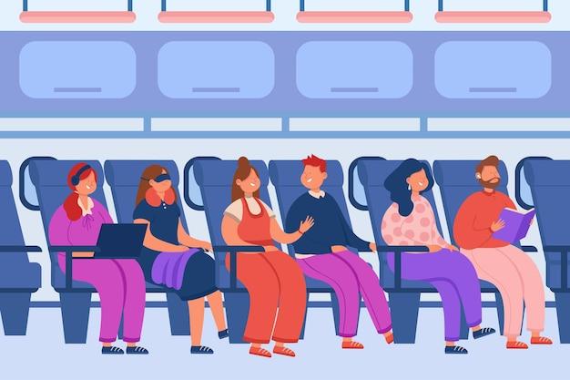 Pasajeros sentados en aviones y hablando ilustración plana