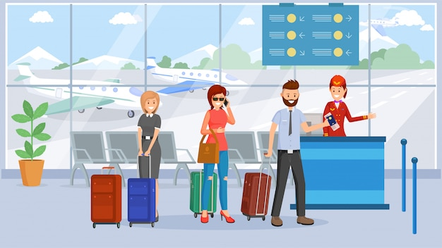 Pasajeros en terminal de aeropuerto