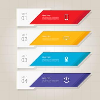 Pasajes de pasos de infografia plana