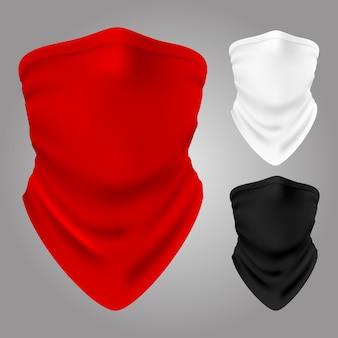 Pasamontañas textil realista vector de colección aislado