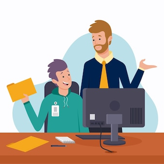 Pasante y compañero de trabajo hablando de detalles
