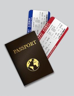 Pasaporte con billetes de avión en el interior.
