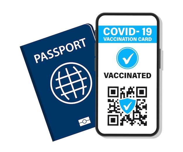 Pasaporte electrónico de inmunidad covid-19. certificado de vacuna digital con código qr. la persona vacunada utiliza el código qr en el teléfono móvil para viajar con seguridad durante la pandemia. boletos aéreos, tarjeta de embarque