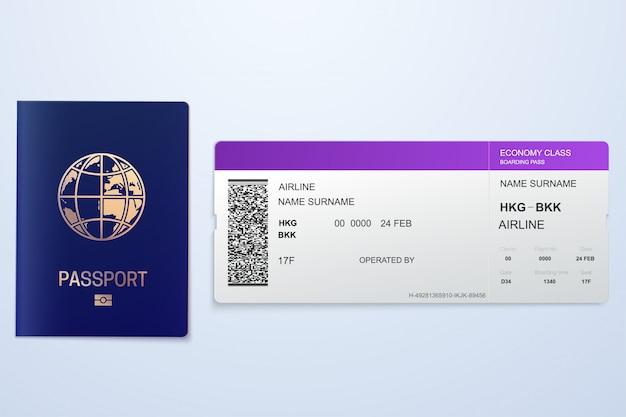 Pasaporte con entradas concepto de viaje aéreo. ciudadanía de diseño plano