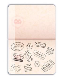 Pasaporte extranjero abierto realista con sellos de inmigración negros y página vacía en blanco