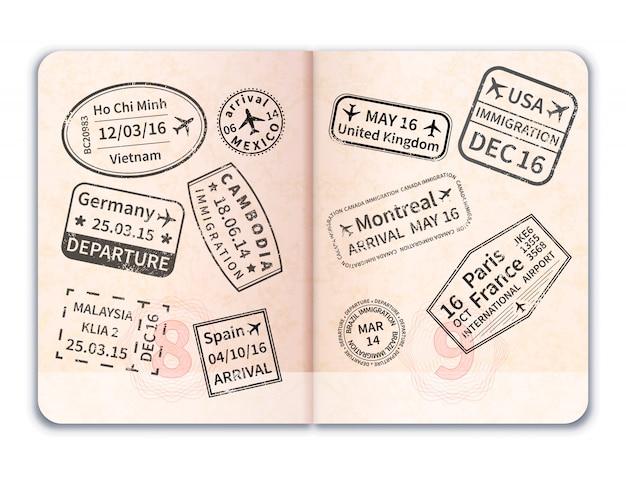 Pasaporte extranjero abierto realista con sellos de inmigración negros sobre blanco