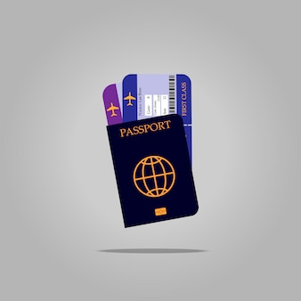 Pasaporte internacional y billetes de avión.