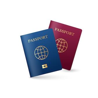 Pasaporte internacional realista con signo de globo. colores rojo y azul.