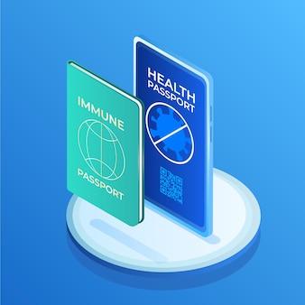 Pasaporte de salud isométrico para personas inmunes al covid