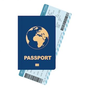 Pasaporte y tarjeta de embarque, boleto de avión.