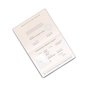 Pasaporte de viaje abierto en la página de identificación y datos personales, ilustración fotográfica realista sobre fondo blanco. documento de identidad para turismo extranjero.