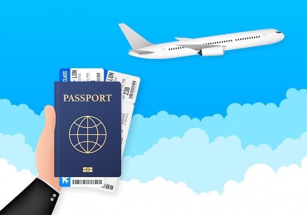 Pasaporte para viajes y turismo. pasaporte en mano. el hombre sostiene en su mano el documento. ilustración.