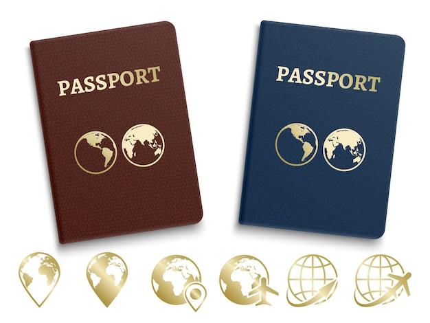 Pasaportes de identificación internacional e iconos dorados de navegación y viajes