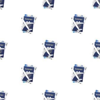 Pasaportes, tarjetas de embarque y patrón de avión. concepto de viaje. servicio de reserva o signo de agencia de viajes. banner publicitario. ilustración de stock vectorial.