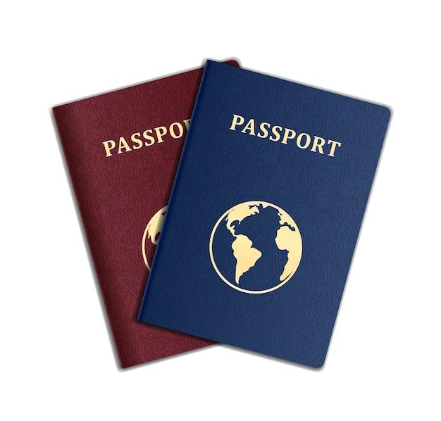 Pasaportes vectoriales con mapa aislado en blanco