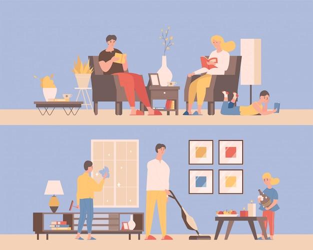 Pasar tiempo juntos en casa ilustración plana. concepto de tiempo en familia. hombres y mujeres leyendo libros en cómodos sillones, limpiando apartamentos, aspirando el piso.