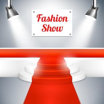 Pasarela vacía del desfile de modas con una señal de alfombra roja, plataforma elevada al final y vector de focos