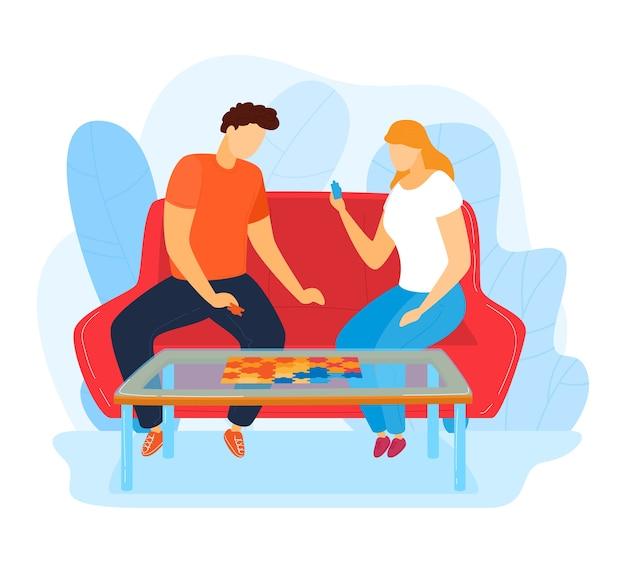 Pasatiempo casero, familia joven feliz pasar tiempo juntos, hecho a mano, ilustración de estilo de dibujos animados de diseño, aislado en blanco. el ocio útil, la mujer y el hombre alegres juegan un juego interesante, gente divertida.