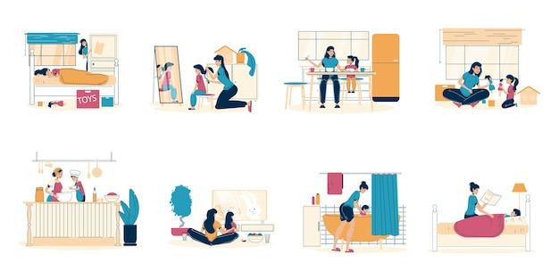 Pasatiempo madre hija pasar estancia en casa.