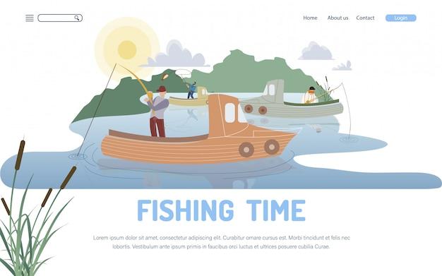 Pasatiempo de pesca y plantilla de página de aterrizaje de ocupación