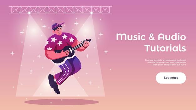 Pasatiempos actividades de tiempo libre tutoriales en línea banner web horizontal con guitarrista bajo las luces del escenario