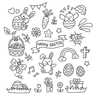 Pascua doodle elementos estilo kawaii