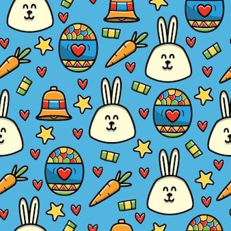 Pascua, doodle, seamless, patrón, diseño