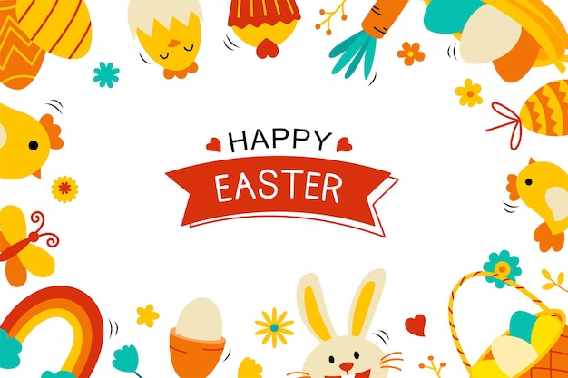 Pascua con elemento de objeto decorativo. fondo de saludo de huevo de pascua.