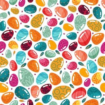 Pascua de patrones sin fisuras de coloridos huevos y plumas