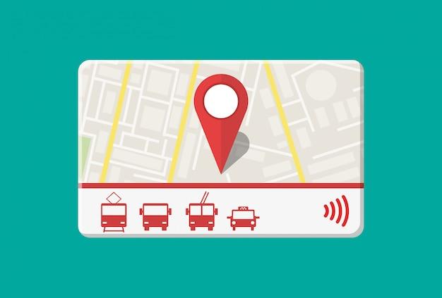 Pase de la ciudad boleto de viaje en autobús, tren, metro, taxi con sistema de pago sin efectivo. tarjeta con mapa de ciudad con roards y casas. ilustración de vector de estilo plano