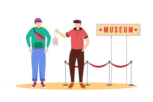 Pase de estudiante para museos ilustración vectorial plana.