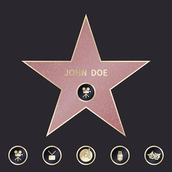Paseo de la estrella de la fama con emblemas que simbolizan cinco categorías