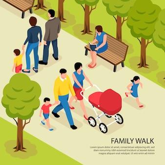 Paseo familiar isométrico con padres jóvenes caminando en el parque de la ciudad con un hijo recién nacido y pequeño