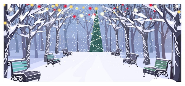 Paseo en el parque urbano de invierno con bancos y abeto decorado