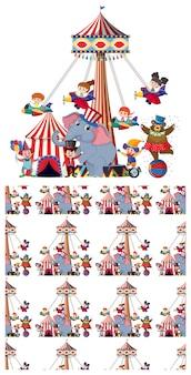 Paseos de circo sin costura y animales