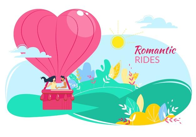 Paseos románticos, amorosa pareja feliz en globo aerostático en forma de corazón volando en el cielo nublado