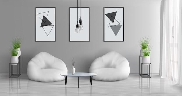 Pasillo de la casa, apartamento moderno, sala de estar soleada, 3d vector realista interior con mesa de café cerca de dos sillas de haz en el centro de la habitación, pinturas, marcos de fotos en la pared gris, ilustración de macetas