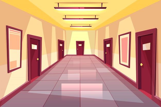 Pasillo de dibujos animados, pasillo con muchas puertas - colegio, universidad u edificio de oficinas.