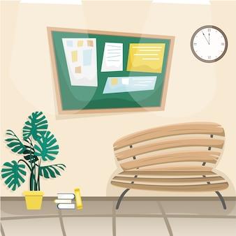 Pasillo escolar con tablón de anuncios, banco y planta decorativa. concepto de dibujos animados.