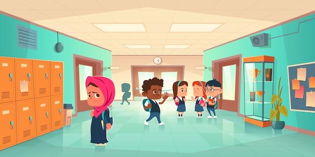Pasillo de la escuela con niños de diferentes nacionalidades.