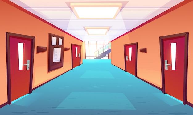 Pasillo de la escuela, pasillo del colegio o universidad
