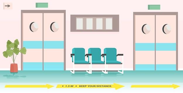 Pasillo hospitalario con carteles de distanciamiento social de medidas de protección epidémica por coronavirus
