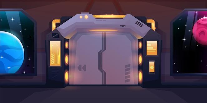 pasillo en nave espacial con puertas correderas cerradas.