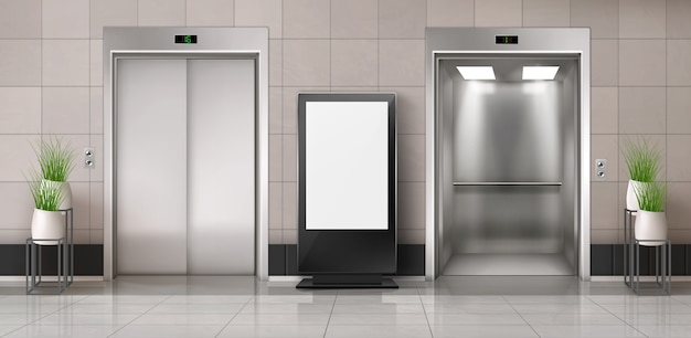 Pasillo de oficina con ascensor y valla publicitaria