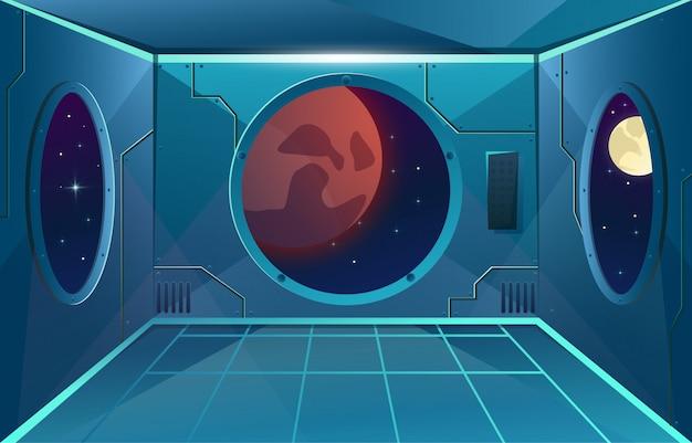 Pasillo con portilla grande en nave espacial. luna y planeta marte en viewport. sala interior futurista para juegos.
