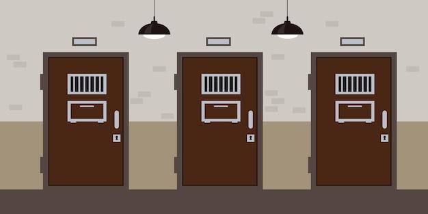 Pasillo de la prisión con puertas y ventanas de la celda concepto interior de la cárcel