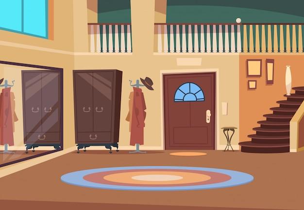 Pasillo retro. interior del corredor de dibujos animados con escaleras y puerta de entrada percha de madera y sala de zapatos. fondo de la casa interior