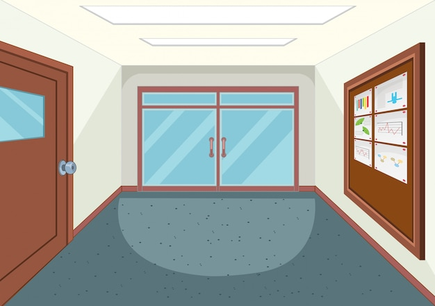 Un pasillo vacío de la escuela.